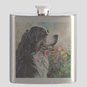Bernese Mountain Dog Painting Flask