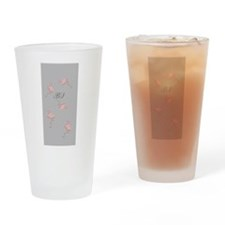 Dancing Pink Flamingo Monogrammed Drinking Glass