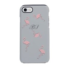 Dancing Pink Flamingo Monogrammed iPhone 8/7 Tough