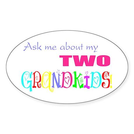 Two Grandkids Oval Sticker