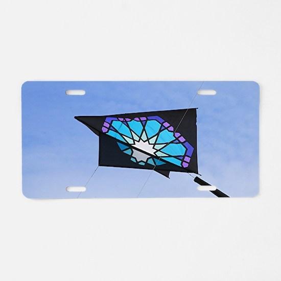 Kite flying in sky 3 Aluminum License Plate