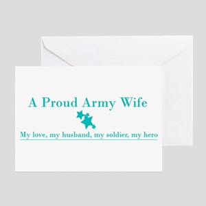 Proud Army Wife Greeting Card - Teal