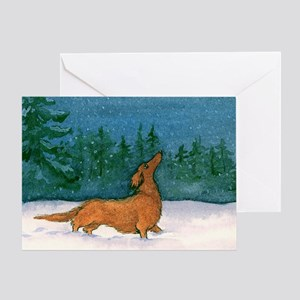 Longhaired Dachshund Christmas Card