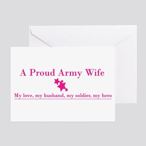 Proud Army Wife Greeting Card - Pink