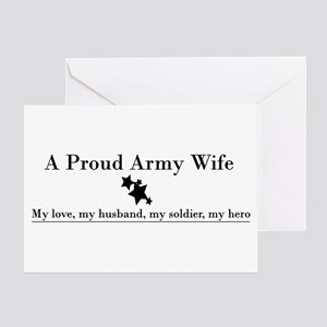 Proud Army Wife Greeting Card - Black