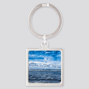Cloudy day on the beach Square Keychain