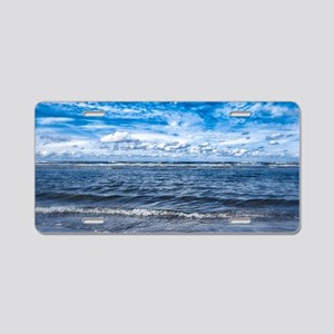 Cloudy day on the beach Aluminum License Plate