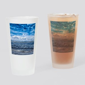 Cloudy day on the beach Drinking Glass