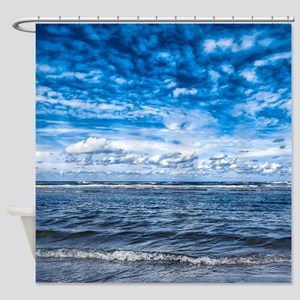 Cloudy day on the beach Shower Curtain