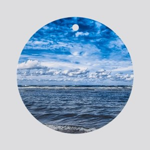Cloudy day on the beach Round Ornament