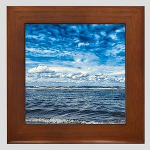 Cloudy day on the beach Framed Tile