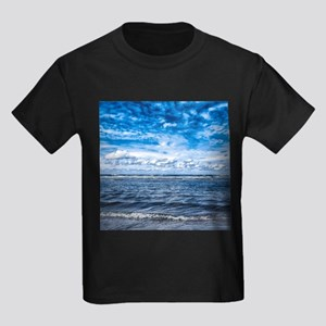 Cloudy day on the beach Kids Dark T-Shirt