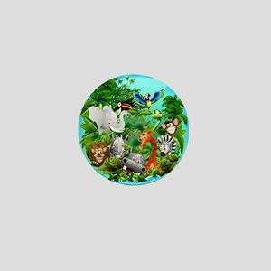 Wild Animals Cartoon on Jungle Mini Button
