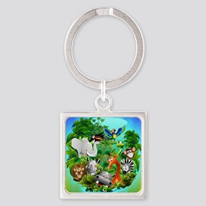 Wild Animals Cartoon on Jungle Keychains