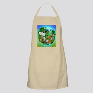 Wild Animals Cartoon on Jungle Apron