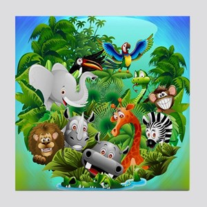 Wild Animals Cartoon on Jungle Tile Coaster