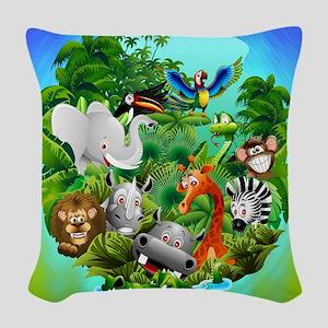 Wild Animals Cartoon on Jungle Woven Throw Pillow