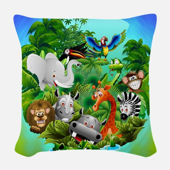 Wild Animals Cartoon on Jungle Woven Throw Pillow