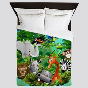 Wild Animals Cartoon on Jungle Queen Duvet