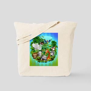 Wild Animals Cartoon on Jungle Tote Bag