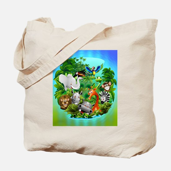 Wild Animals Cartoon on Jungle Tote Bag