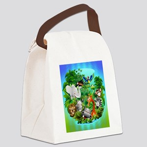 Wild Animals Cartoon on Jungle Canvas Lunch Bag