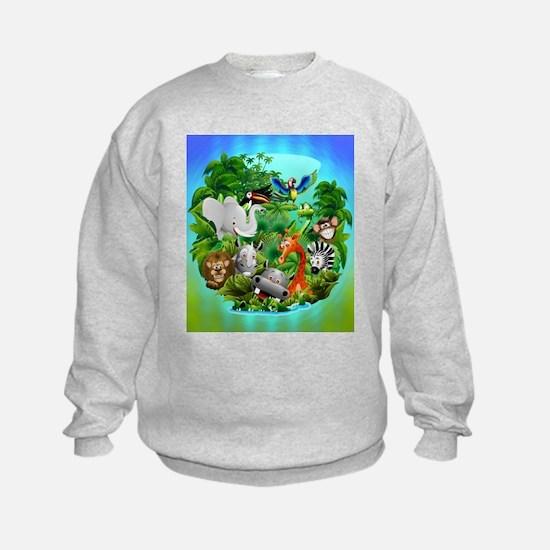 Wild Animals Cartoon on Jungle Sweatshirt