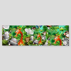 Wild Animals Cartoon on Jungle Bumper Sticker