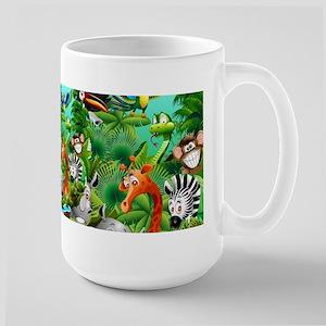 Wild Animals Cartoon on Jungle Mugs