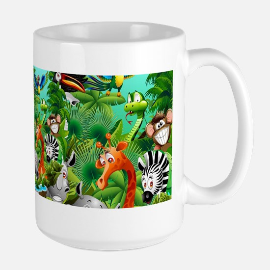 Wild Animals Cartoon on Jungle Mugs