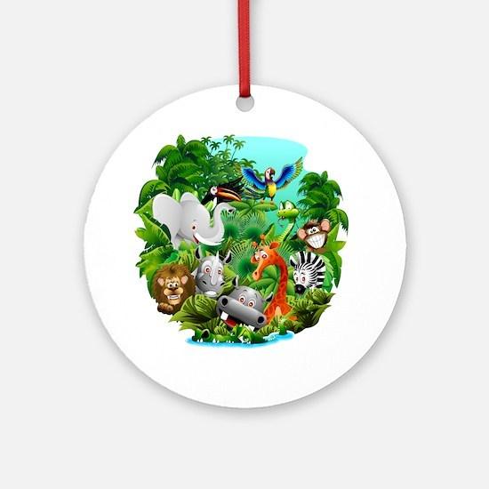 Wild Animals Cartoon on Jungle Round Ornament