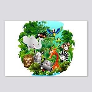 Wild Animals Cartoon on Jungle Postcards (Package
