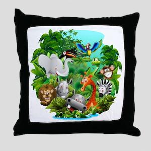 Wild Animals Cartoon on Jungle Throw Pillow