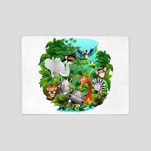 Wild Animals Cartoon on Jungle 5'x7'Area Rug
