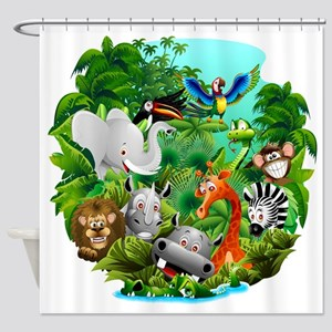Wild Animals Cartoon on Jungle Shower Curtain