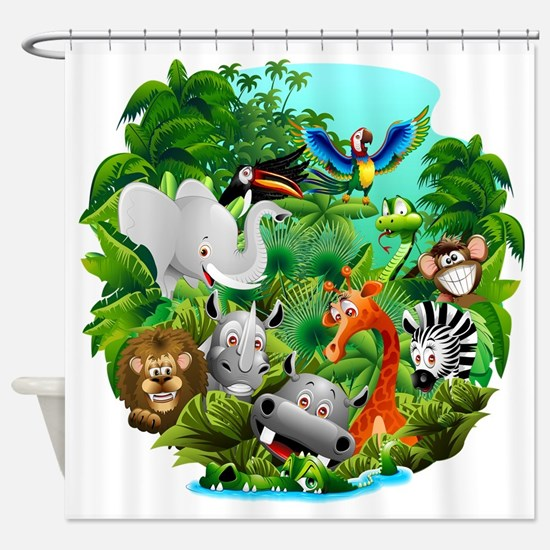 Wild Animals Cartoon on Jungle Shower Curtain