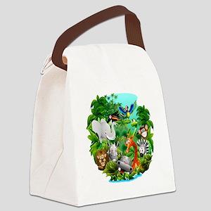 Wild Animals Cartoon on Jungle Canvas Lunch Bag