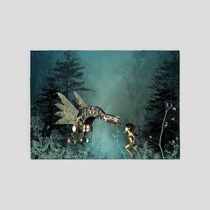 Cute fairy with steam dragon 5'x7'Area Rug