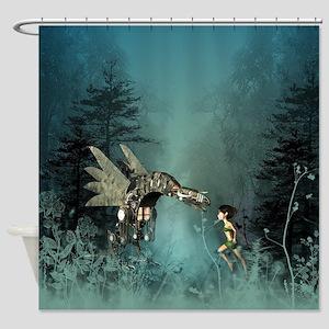 Cute fairy with steam dragon Shower Curtain