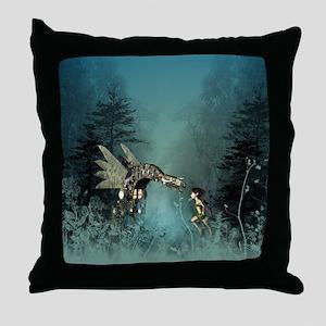 Cute fairy with steam dragon Throw Pillow