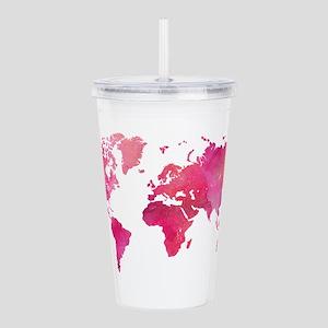 Pink Watercolor World Map Acrylic Double-wall Tumb