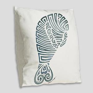 Tribal Manatee Burlap Throw Pillow