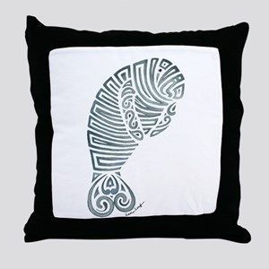 Tribal Manatee Throw Pillow