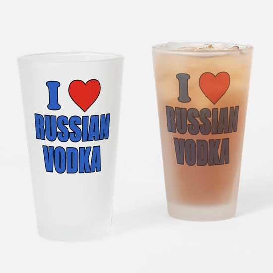 I Love Russian Vodka Drinking Glass