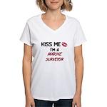 Kiss Me I'm a MARINE SURVEYOR  Women's V-Neck T-Sh