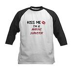 Kiss Me I'm a MARINE SURVEYOR  Kids Baseball Jerse