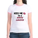 Kiss Me I'm a MARINE SURVEYOR  Jr. Ringer T-Shirt