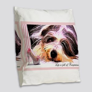 Bearded Collie Temptation Burlap Throw Pillow