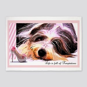 Bearded Collie Temptation 5'x7'Area Rug