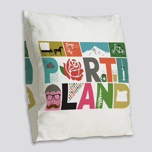 Unique Portland - Block by Blo Burlap Throw Pillow